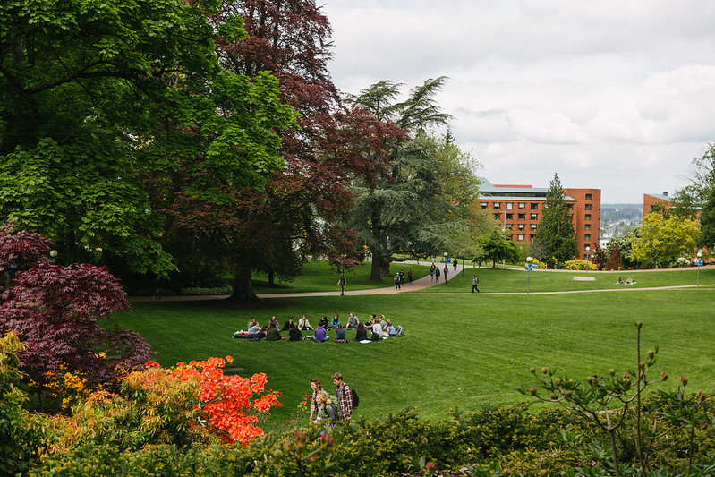 Students gathering on Old Main lawn