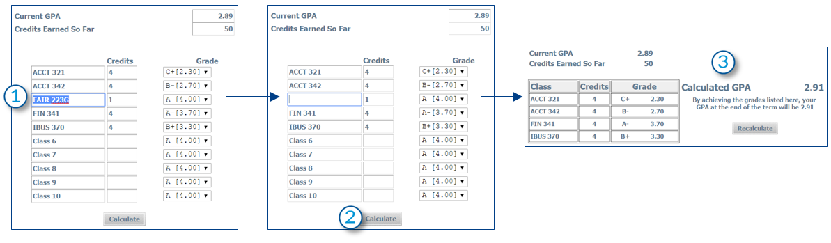 removing a class from the term GPA calculator in Degree Works, screenshot