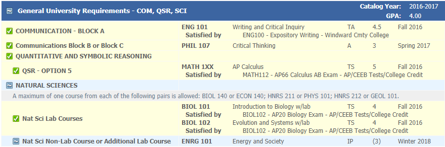 COM, QSR and SCI GURs shown in Degree Works, screenshot