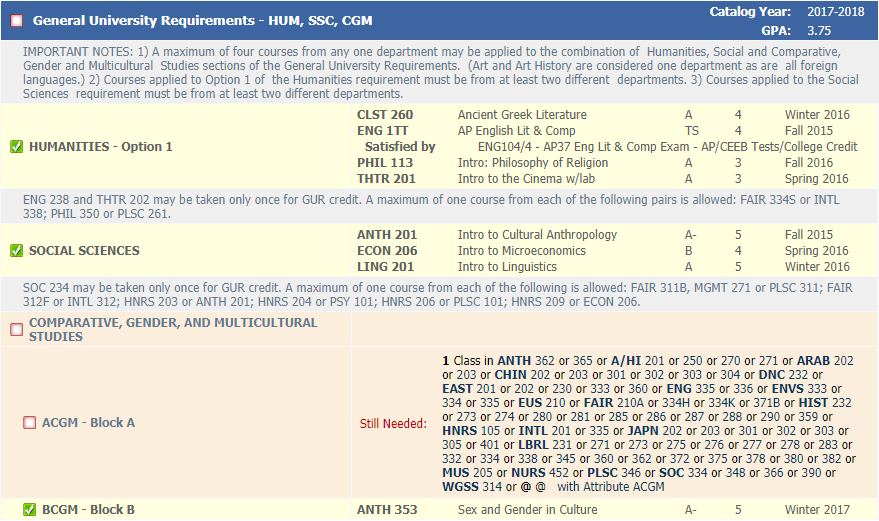 HUM, SSC and CGM GURs shown in Degree Works, screenshot