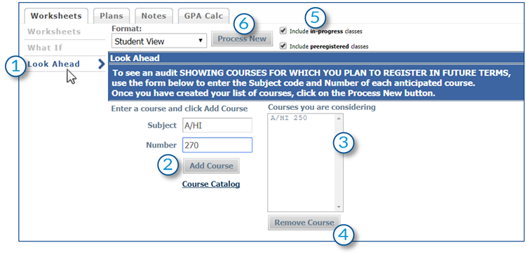 example of the look ahead tool in Degree Works, screenshot